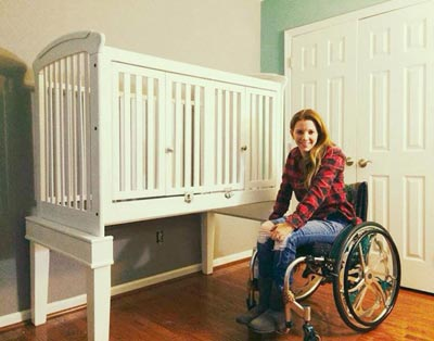 Rachelle Chapman and adapted crib