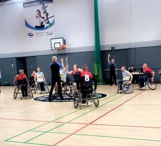 Gary partaking in wheelchair basketball